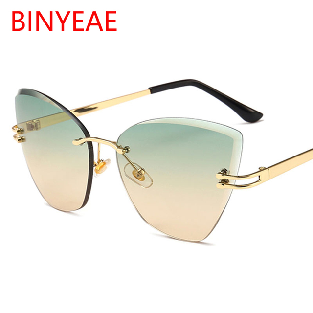 c0256d4e61a Green tea cat eye sunglasses for women 2018 hot new trends italian brand  women shades designer