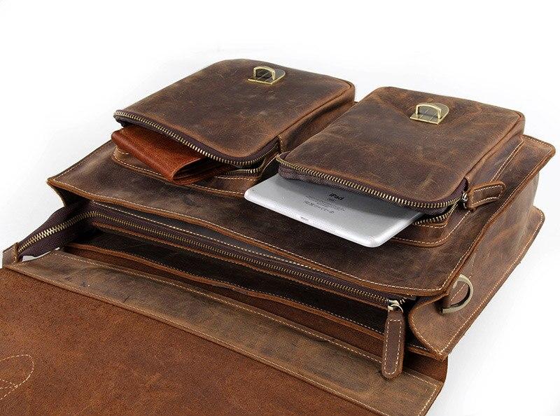 Augus мужские модные коричневые деловые портфели из натуральной коровьей кожи, сумка на плечо для ноутбука, сумка мессенджер 7105B 1 - 5