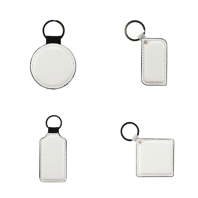 Sublimation Blank Leather Rectangle Square Keychains Hot Transfer Printing Two Sides Can Printed Consumables 10pcs/lot