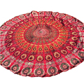 New Casual Chiffon Round Beach Sun Bath Home Shower Towel Picnic Mat Shawl Pashmina Red Peacock Feather Print Blanket Shawl Nov2