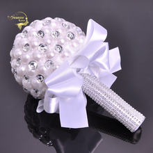 Большой жемчуг и кристаллы букеты для невесты свадебные цветы