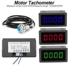 Светодиодный Тахометр с 4 цифровыми синими, зелеными и красными измерительными датчиками+ измеритель скорости вращения+ постоянный ток 8-15 в 10-9999 об/мин датчик приближения для Холла NPN