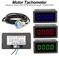 LED 4 Цифровой синий зеленый красный измерительные приборы Тахометр RPM измеритель скорости + DC 8-15V 10-9999RPM зал датчик приближения NPN