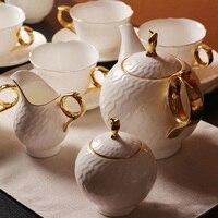 Костяной фарфор Керамика Чай Набор 15 шт. Кофе Наборы для ухода за кожей миска молока Королевский подарки водяной знак Белый Европейский Чай