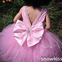 Fucsia largo cuentas de encaje vestidos de niña con arco cristales SASH backless hermosa cumpleaños partido desfile vestidos de bola