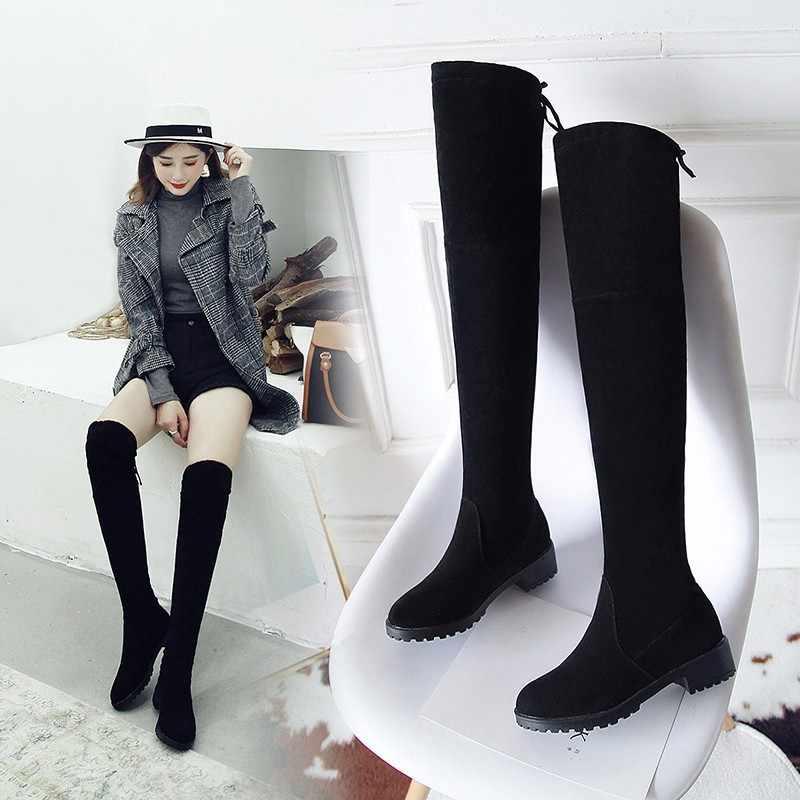 Uyluk Yüksek Çizmeler Kadın Kış Çizmeler Kadın Diz üzerinde Çizmeler Düz Streç Seksi moda ayakkabılar 2018 Siyah XL34--41 binici çizmeleri