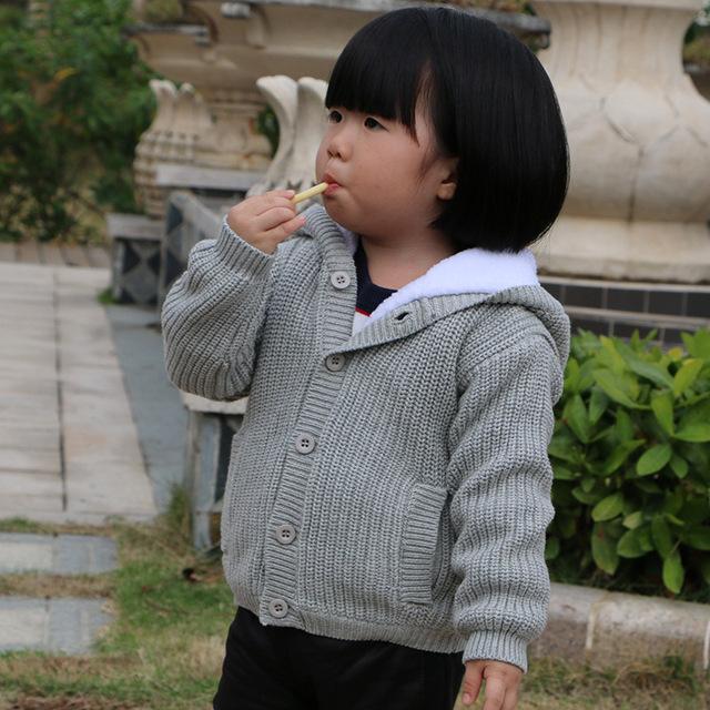 2016 Novo Estilo de Moda Bebê Outono Inverno Infantil Camisola de Malha Casacos Crianças Roupas Das Meninas Dos Meninos da Criança Manto Crianças Casaco