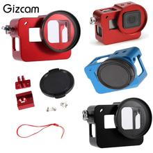 Gizcam for GoPro Hero 5 Camera Aluminum Alloy Protective Frame Housing Case Mount with Lens Cover 2017 New