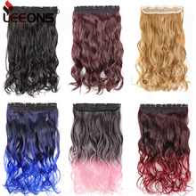 Leeons 22 inches Synthetic 5 Clips in Hair Extensions Body w