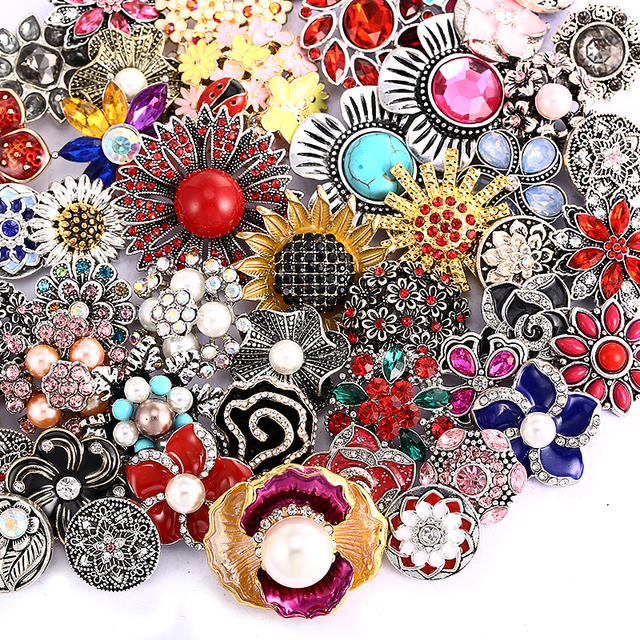 10pcs/lot Wholsale 18mm Snap Jewelry Mixed Styles Snap Buttons Fit Snap Bracelet