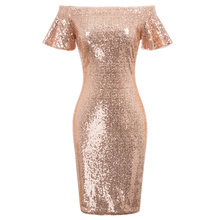 GK Sexy Women's Sequined Short Sleeve Off Shoulder Hips-Wrapped Bodycon Dress(China)