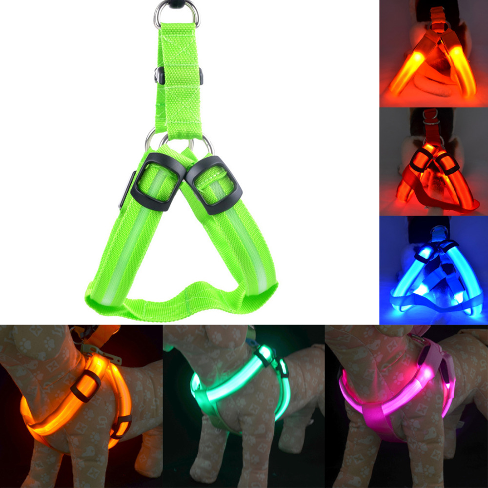 Image 4 - Rechargeable LED Nylon Pet Dog Cat Harness Led Flashing Light Harness Collar Pet Safety Led Leash Rope Belt Dog Accessories-in Harnesses from Home & Garden
