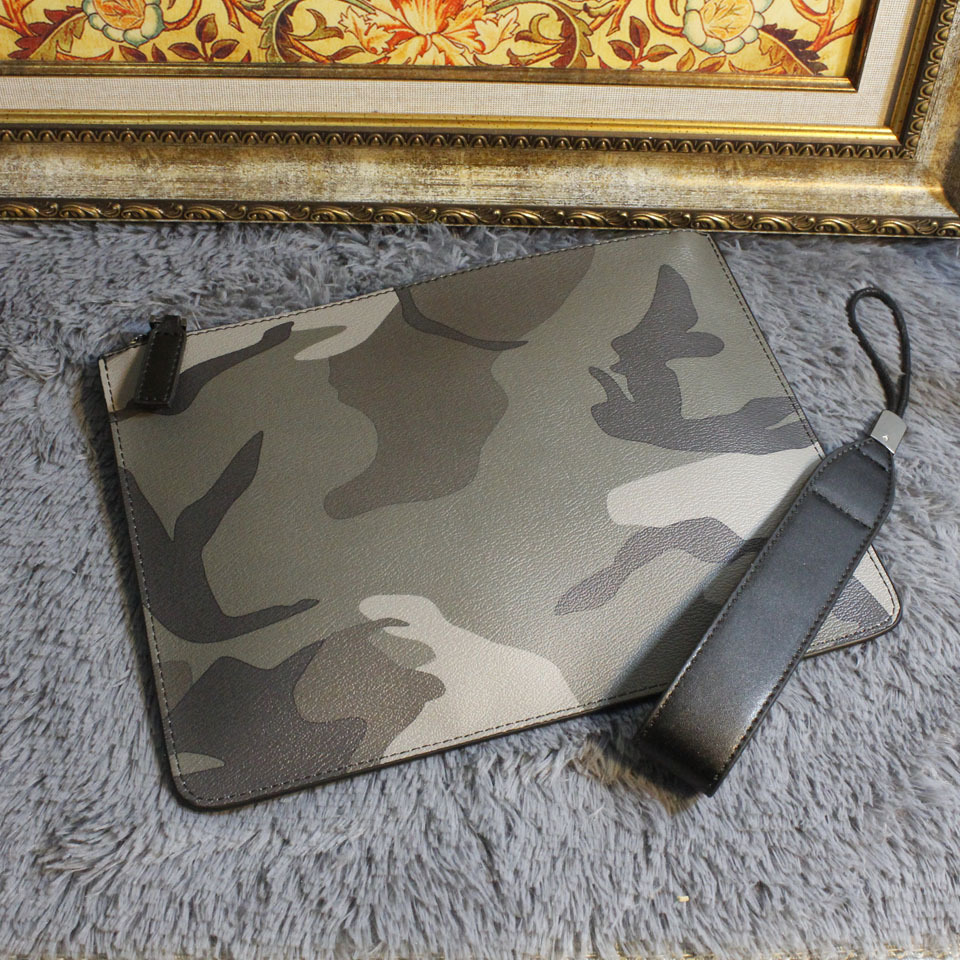 NEW 2018 Men Business Large Purse Camouflage Casual Bag For Male PU Leather Men's Fashion Brand Clutches Envelope Wristlet Bags