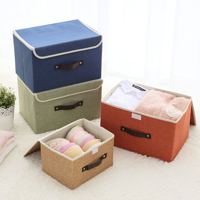 Solid Color Folding Box Toy Organizer Swimwear Container