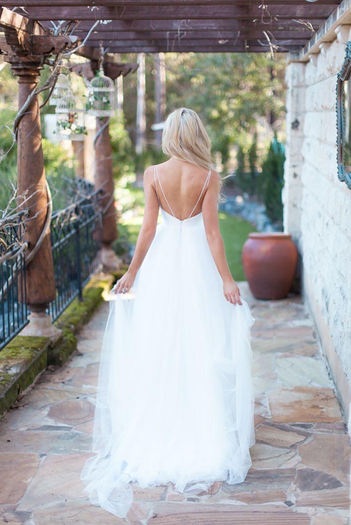 robe de mariage 2017 Simple White Tulle Long Boho Beach Wedding ...