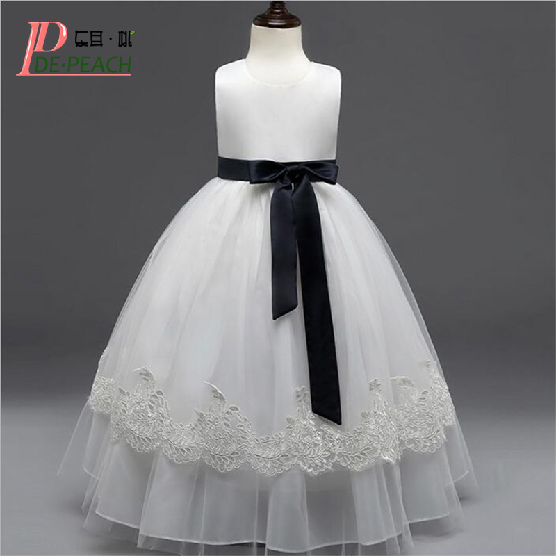 Elegant Girls Dress Lace Tulle White Princess tutu Long Dress Sleeveless Children Clothing 2017 New Black Bow-knot Kids Vestidos ems dhl free summer new girls princess dress lace bow v back tulle gauze sequin sparkle sleeveless tiers pearls beaded dress