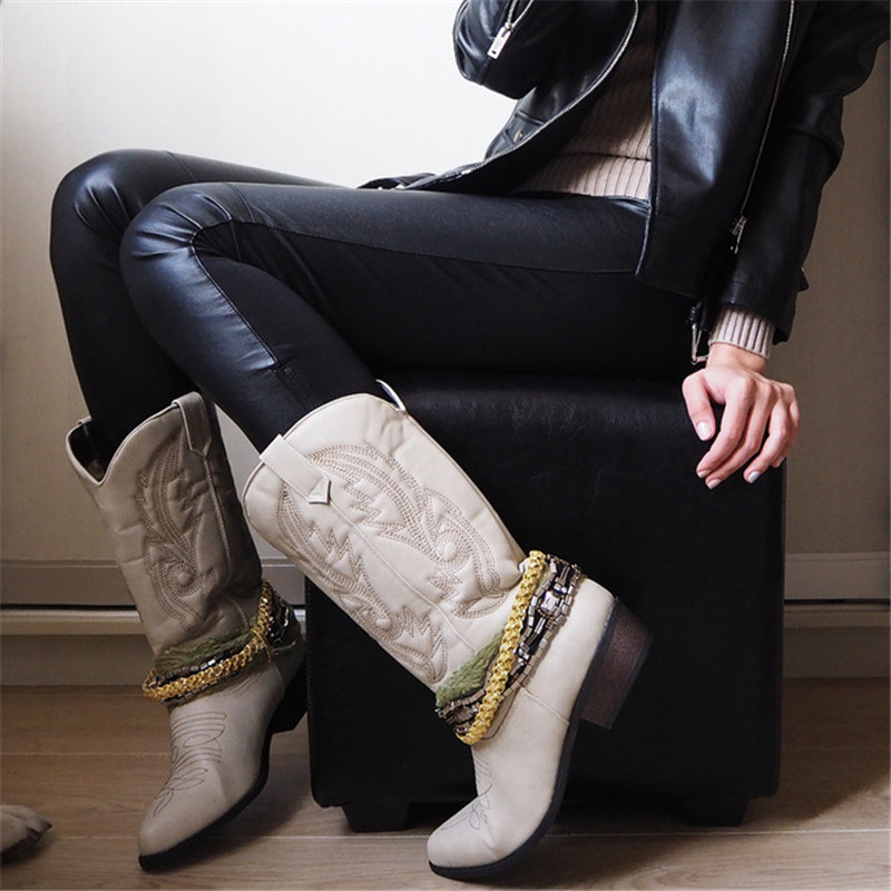Top.Damet Women Knee High Boot Cowboy Cowgirl Boots with Lace and Chain Decoration Western Shoes Slip On Motorcycle Boots Woman