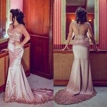 Robe De Soiree 2016 Dubai Neue Elegante Scoop Applique Langarm Arabisch Mermaid Abendkleid Lange Abschlussball-kleider Abendkleider