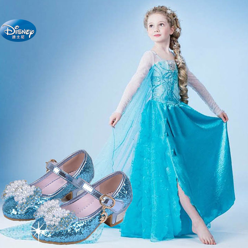2019 new girl Frozen 3-12 years old Princess shoes beads crystal high heels 26-37 image