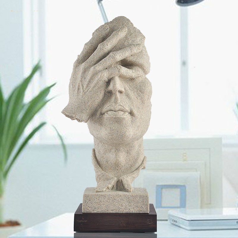 See No Evil Human Head Figurine Craft Home Decoration Accessories Office Decorations