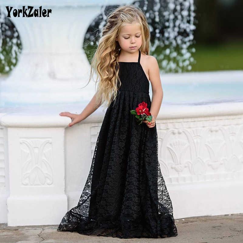 Платье принцессы для девочек без рукавов с открытой спиной кружевные вечерние