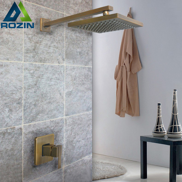 Antique Brass Square Rainfall Shower Mixer Tap Concealed Install ...