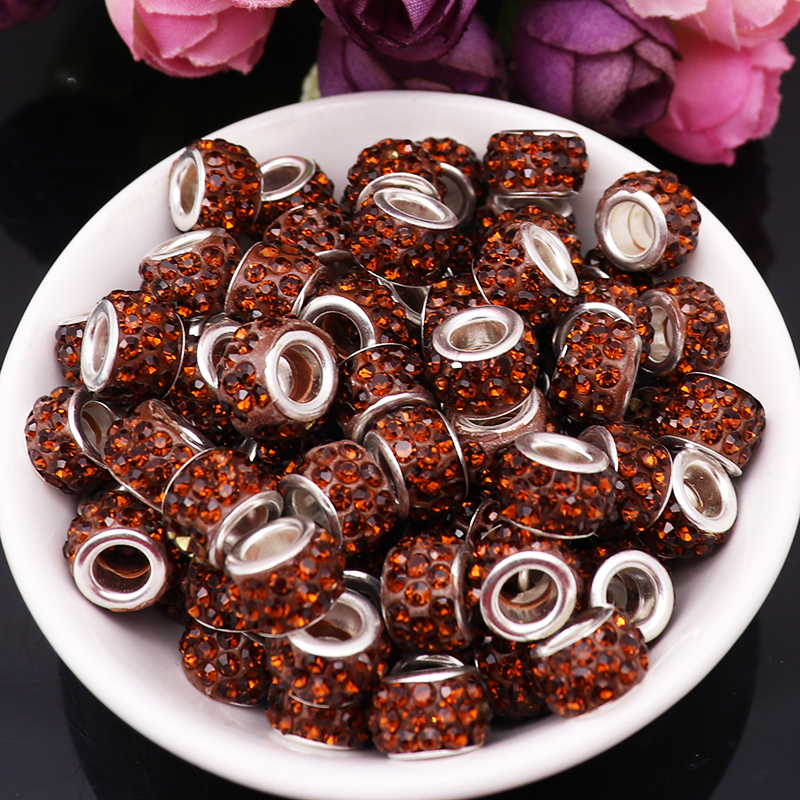 40Pcs Mixed Color Rhinestone European Spacer Glass Beads Fit For Pandora Charm Bracelet DIY Bead For Women Girl Jewelry Making in Beads from Jewelry Accessories