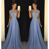 2019 Sexy Beaded Lace Evening Dresses Floor Length A Line Chiffon Sheer Formal Prom Dress Women Party Gowns