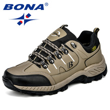 лучшая цена BONA New Arrival Classics Style Men Hiking Shoes Action Leather Men Athletic Shoes Outdoor Jogging Shoes Fast Free Shipping