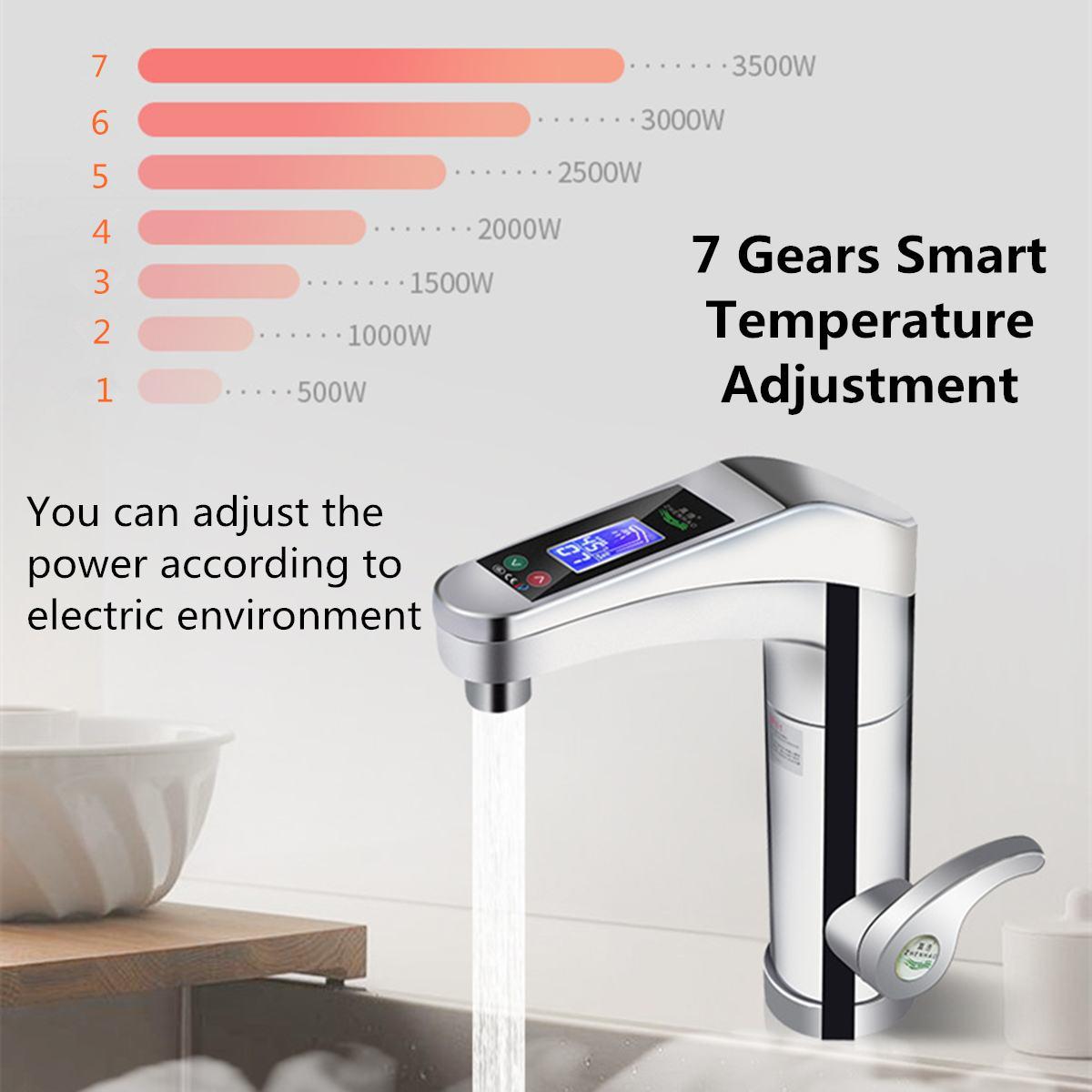 500 3500W gran pantalla táctil calentador de agua eléctrico grifo giratorio de agua grifo instantáneo caliente y frío para baño cocina - 4
