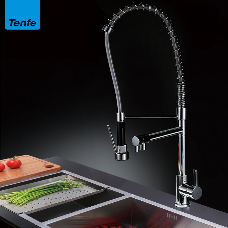 All Copper Hot And Cold Water Faucet Pull-out Kitchen Faucet Separable Water-rotating