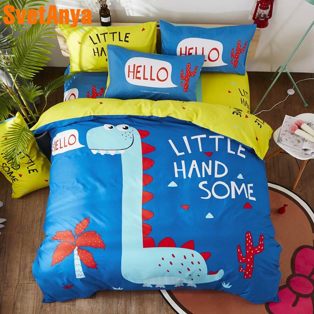 Svetanya 恐竜シーツ枕布団カバーセット綿 100% 漫画のリネンシングル、ダブル、クイーンサイズの子供の寝具セット  グループ上の ホーム&ガーデン からの 寝具セット の中 1