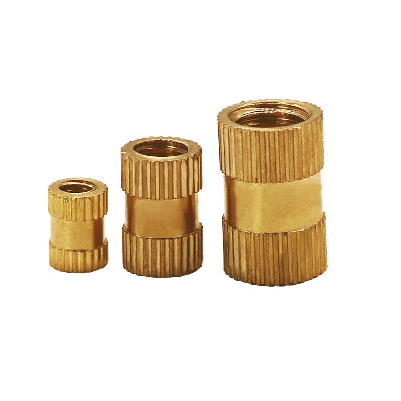 SLZC 100pcs//lot M2 M2.5 M3 Copper Inserts Brass Double Pass Knurl Nut Fastener Spacing Nuts Size : M3 6 4mm