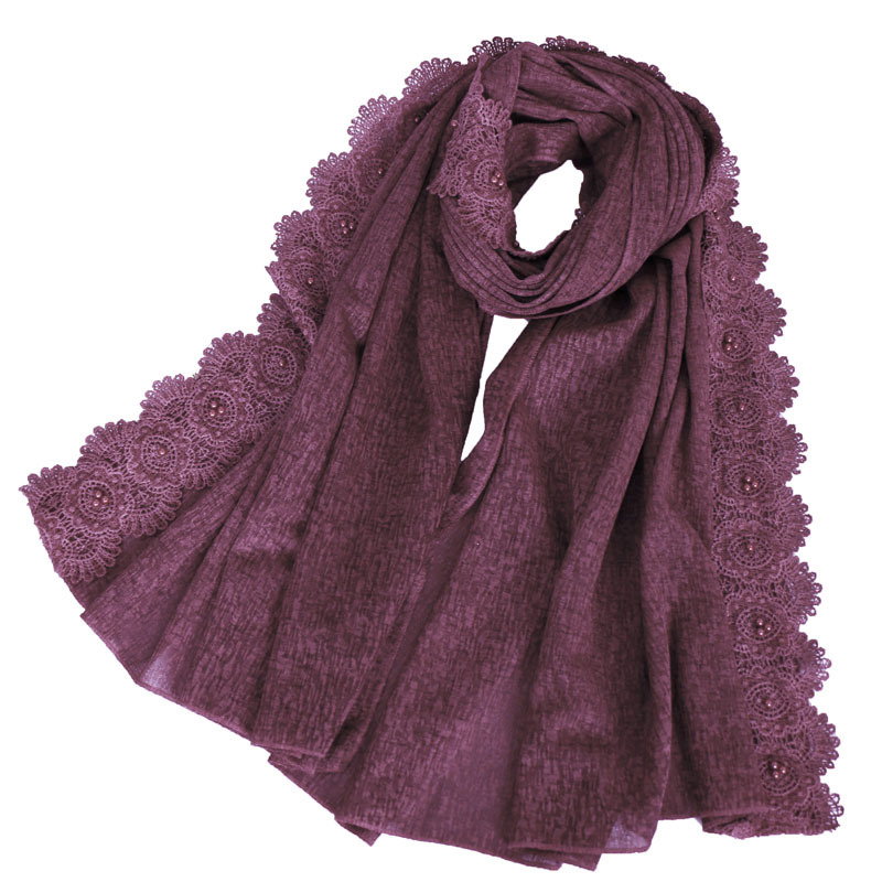 2019 Brand Designer Women Plain Lace Floral Beads Chain Cotton Scarves Lady Shawls And Wraps Pashmina Stole Foulard Muslim Hijab