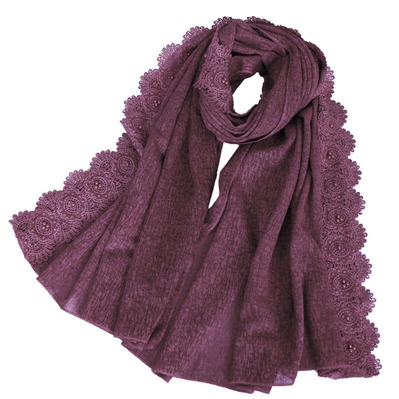 2019 Brand Designer Women Plain Lace Floral Beads Chain Cotton Scarves Lady Shawls And Wraps Pashmina Stole Foulard Muslim Hijab