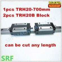 Wysoka Precyzja 1 sztuk TRH20 Liniowe szyny 20mm L = 700mm Liniowy Przewodnik Rail + 2 sztuk TRH20B poduszka zablokuj dla cnc