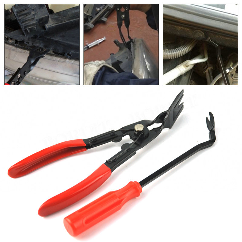 2pcs Car Door Panel Trim Clip Removal Tool Pliers Upholstery Remover Rivets Fastener Trim Clip Removal Pliers Pry Bar Tool Set