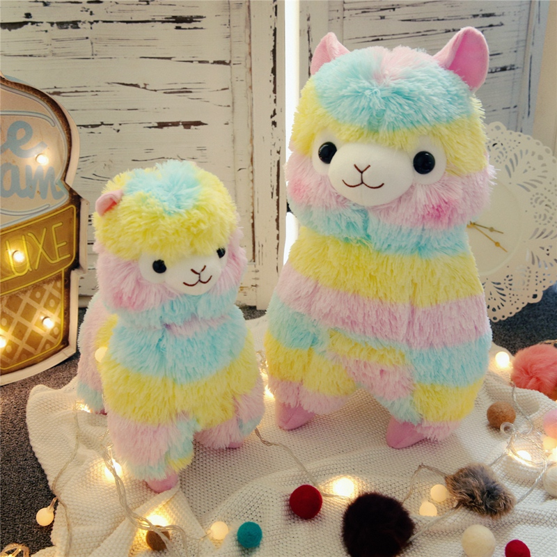 Hot 35cm 50cm Rainbow Alpaca Vicugna Plush Toys Kawaii Sheep Stuffed Toys Japanese Stuffed Animals Doll Kids Toy Children's Gift welcome customer apron sheep alpaca maid servant plush toy stuffed doll gift for baby kids children girlfriend baby present