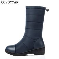 COVOYYAR 2018 Wedge Fur Snow Boots Waterproof Winter Women Boots Warm Down Mid calf Cold Weather Platform Female Shoes WBS429