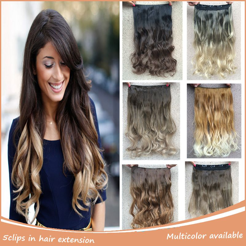1pc Ombre Synthetic Hair Extensions 20 50cm 130g Clip In Curly Hair