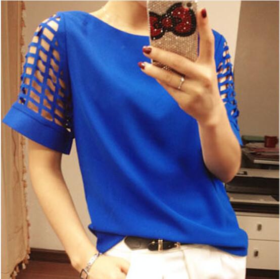 HTB1PnHxGFXXXXcXXFXXq6xXFXXXh - New Summer shirt Short sleeve Chiffon Blouse Tops Clothing 5XL