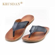 [krusdan]2017 Fashion Men Genuine Leather Flip-flops Mens Clip Toe Slippers Casual Summer Shoes Beach Men's Retro Sandals