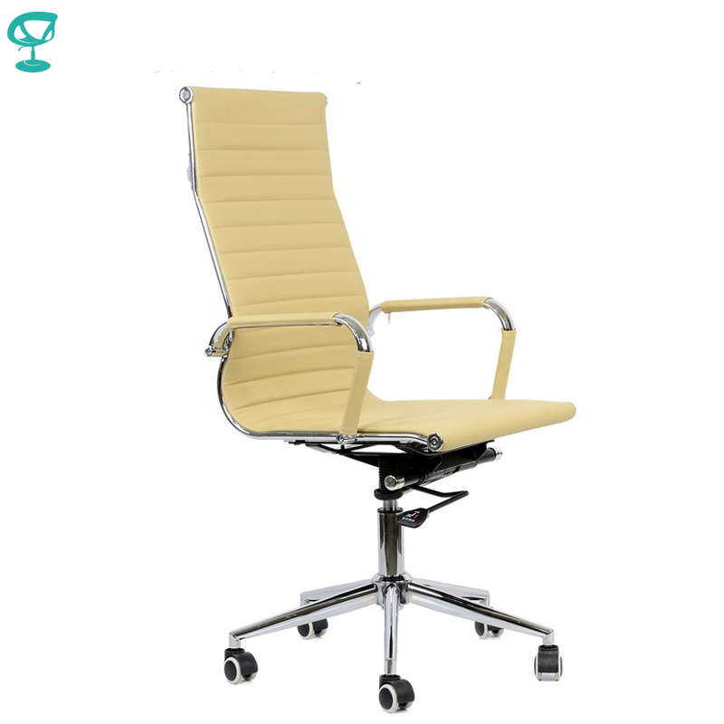 94995 Beige Office Chair Barneo K-110 Eco-leather High Back Chrome Armrests With Leather Straps Free Shipping In Russia