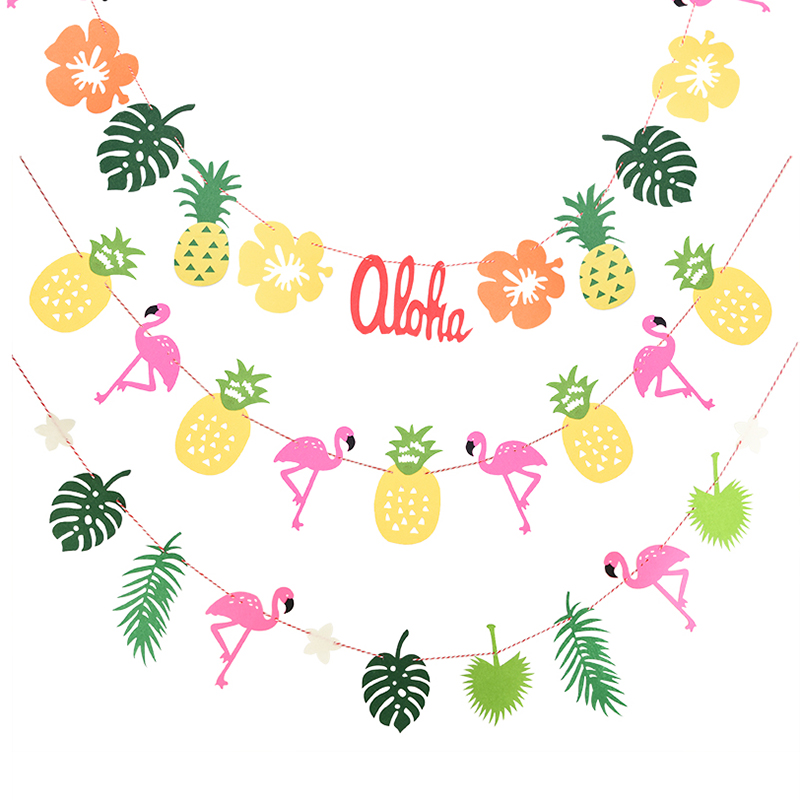 Flamingo And Pineapple Banner Bunting Summer Party Beach Party Birthday Photo Prop Tropical Party Hawaiian Party Decor
