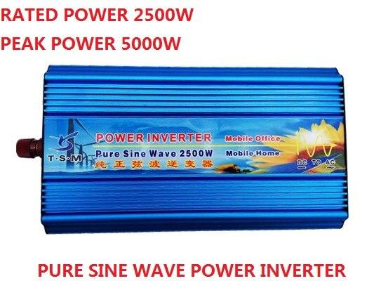 цена на digital display 2500w 2.5KW pure sine wave power inverter 12V/24V DC input to 110V/120V/220V AC output peak power 5000W inverter