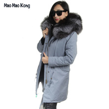 2017 army green winter jacket coat women parka real large Raccoon Fur Collar hooded natural fox real fur Thick Warm Fur liner
