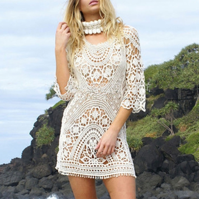 Bathing Suit Cover Up Crochet Lace Bikini Swimsuit Shirts In Blouses