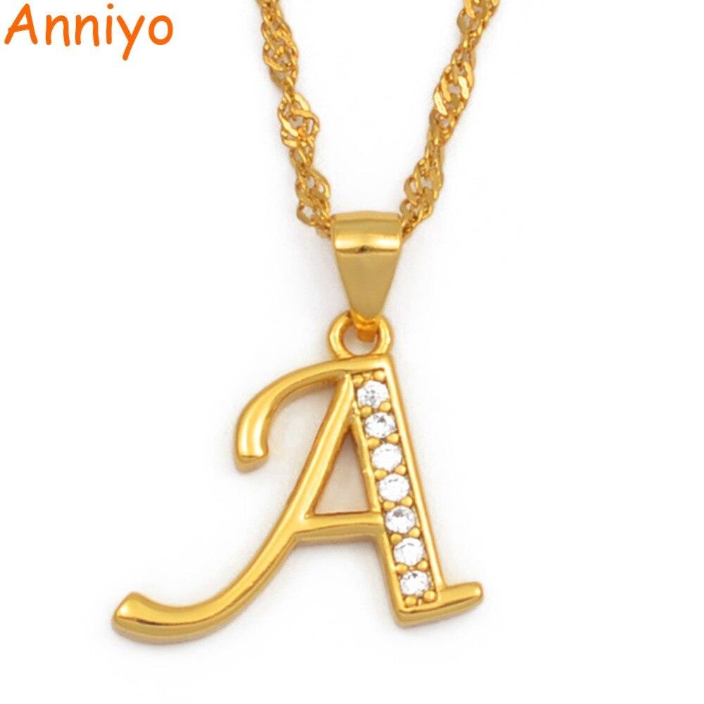 b974100b7532 Anniyo A Z cartas collares Color oro alfabeto inicial colgante de cadena de  las mujeres chica Cubic Zirconia inglés joyería de la Carta  040602 en  Collares ...