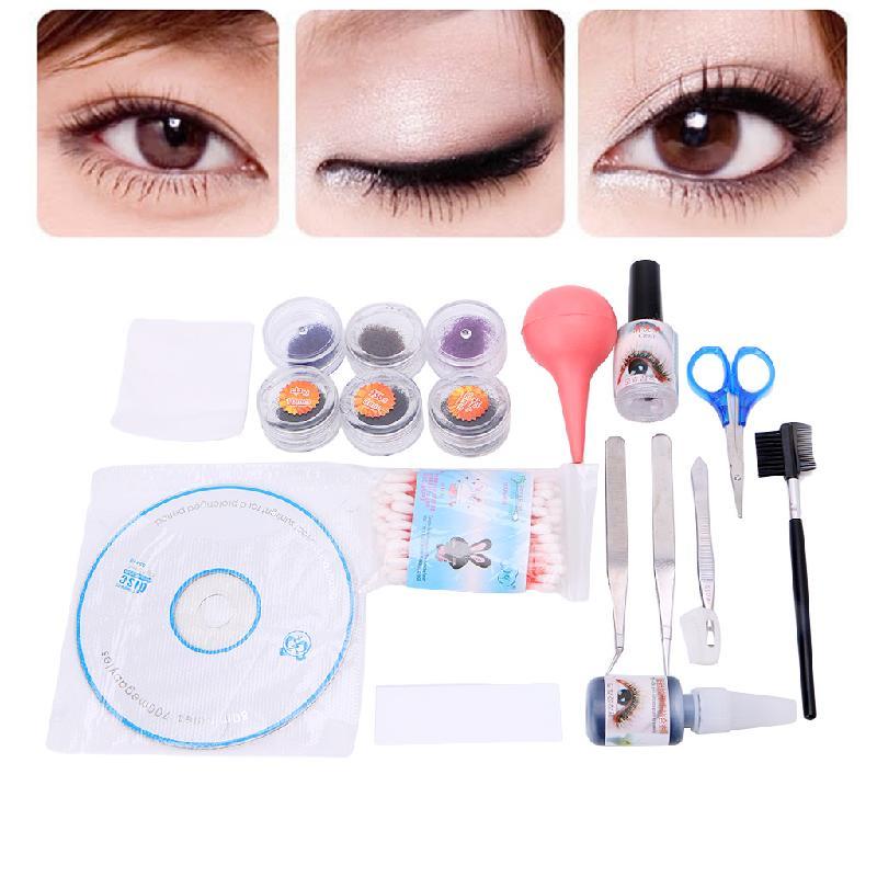 GUJHUI 1Set Professional Beauty Makeup False Extension Eyelash Eye Lash Kit Set DIY Tool