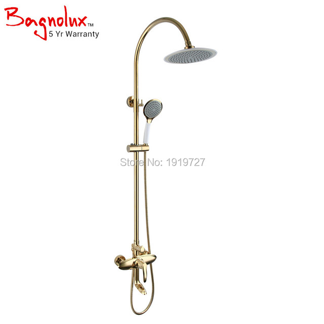 Promotion Wholesale High Quality Luxurious Bathroom Cold and Hot Shower System With Round Rain Shower Head And Hand Shower Tap